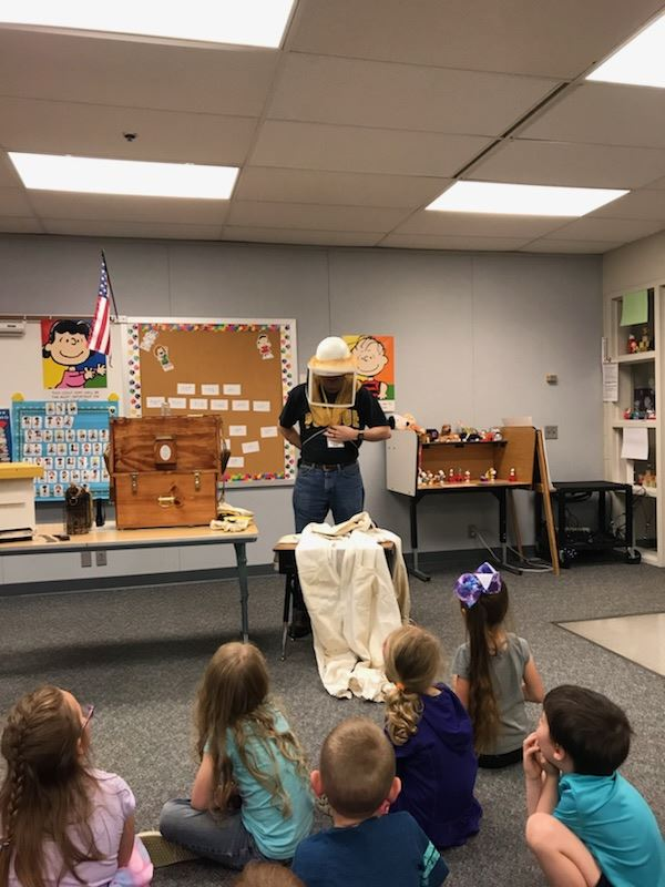 Needham Kindergarten welcomed Beekeeper, Rick Waldrip , for a visit. Mr. Rick owns 3Drips Honey Farm in Bargersville, Indiana.