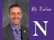 purple background with Mr. Purlee's headshot. in white writing it says Mr. Purlee and a large 'N'