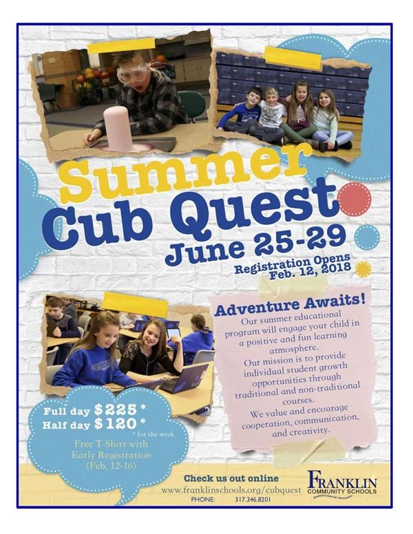 Summer Cub Quest Sign Up Today!!