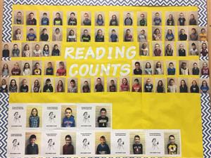 pictures of bulletin board, students pictures, words Reading Counts