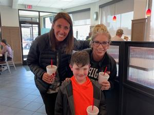 Mrs. Stone, Rory, and Mrs. Smith at Chick-fil-A