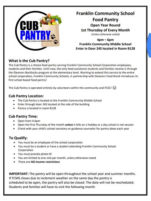 informational sheet about Cub Pantry, black letters on white background