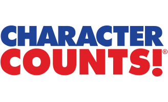 Red and blue letters that say Character Counts