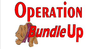 Illustration of a brown coat with the words Operation Bundle Up in red