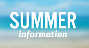 The words Summer Information in white on a blue sky background