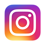 pink, purple, orange, and yellow swirled colors with a white outline of camera inside colors. Instagram logo