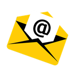 diagonal yellow envelope with black accents with a white piece of paper sticking out with a black @ on it.