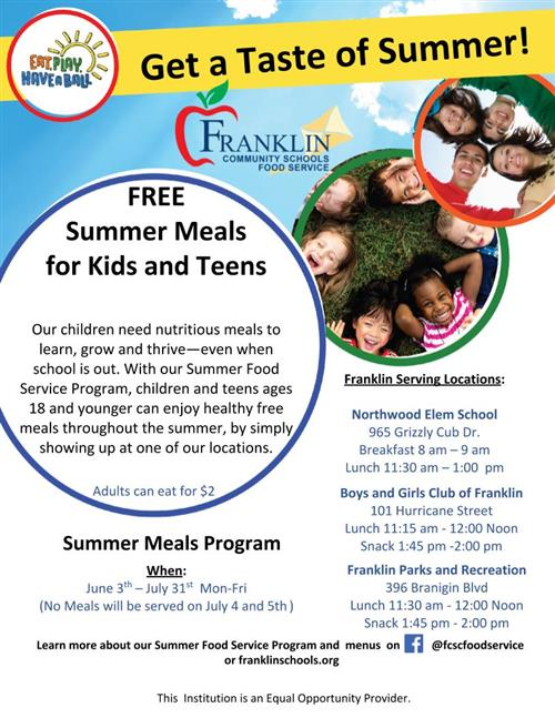 Summer Meals date and times