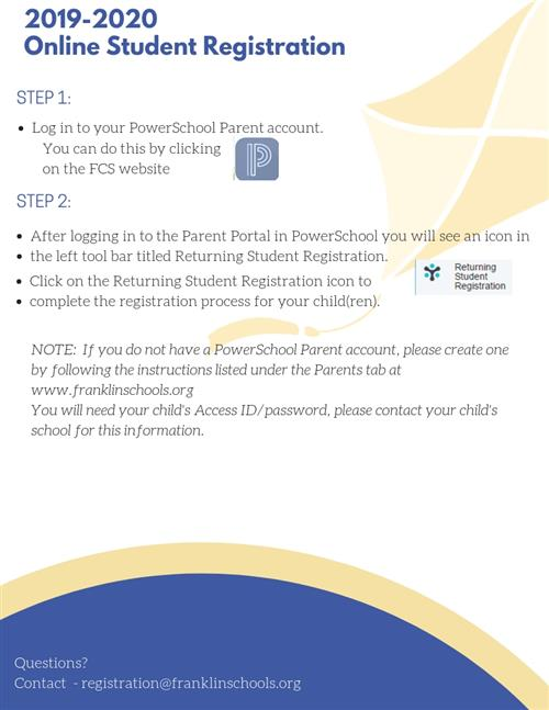 Online student registration instructions. pdf copy is linked as well