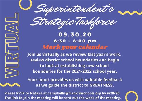 Strategic taskforce meeting information