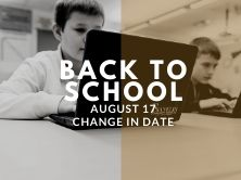 black and white picture of male on chromebook with back to school August 17 date change
