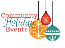 Community Holiday Events with 3 ornaments next to it.