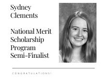 Sydney Clements National Merit Semi-Finalist with a small head shot of her