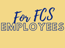 yellow background with blue words For FCS Employees