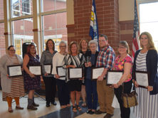 10 support staff members are recognized at the end of year banquet