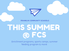 blue sky background with clouds and paper airplane that says this summer at FCS