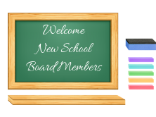 Chalkboard that says Welcome New School Board Members