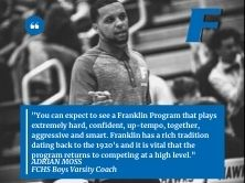 picture of Adrian Moss walking on basketball court with quote also shared in statement from school.