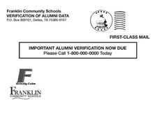 the front of a post card that was sent to FCHS alumni