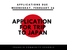red dot with application for trip to Japan written on it