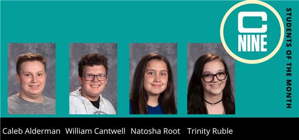 Caleb Alderman, William Cantwell, Natosha Root, Trinity Ruble, headshots of each C-9 Students of the month