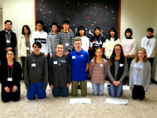 Students from middle school and Kuji, Japan pose together