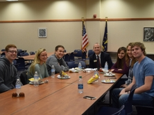 Dr. Clendening having lunch with former FCHS students.
