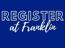 blue background with white letters that say Register at Franklin