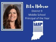head shot of Rita with words Rita Holman IASP District 9 Middle School Principal of the Year
