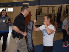 Girl practicing self defense moves