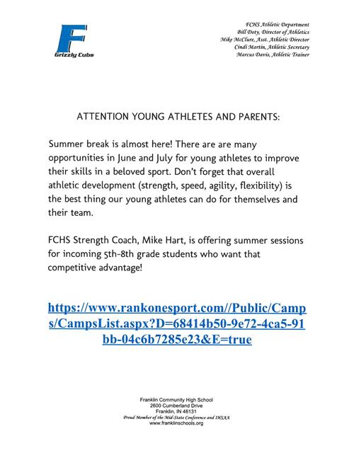 Attention Young Athletes