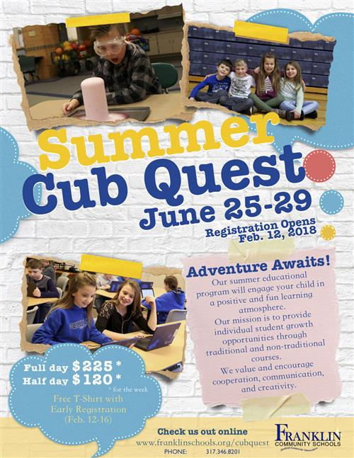 Summer Cub Quest Flyer - all information can be found elsewhere on web page