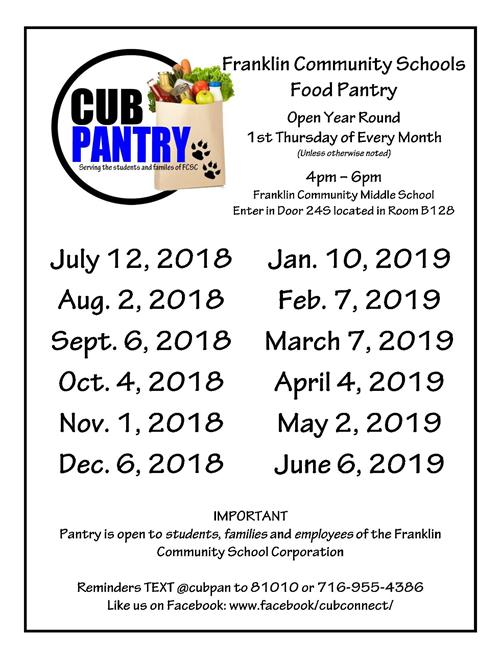 dates of cub pantry openings