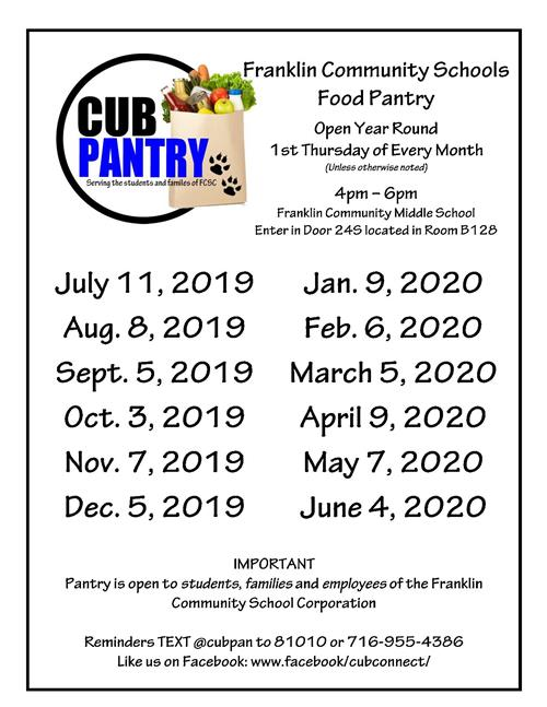 List of all dates that cub pantry is open during 2019 and 2020. A pdf list is linked above.