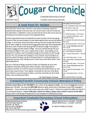 September Creekside Cougar Chronicle