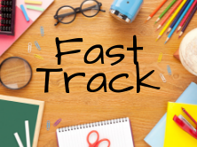 graphic of school supplies with Fast Track in middle
