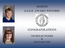 Photos of March SAGE Winners