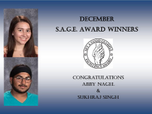 Blue award with Abby Nagel and Sukrhaj Singh's picture with the S.A.G.E award in the center.