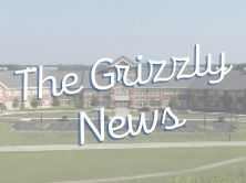Graphic of school with The Grizzly News