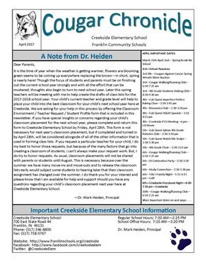 April Creekside Cougar Chronicle