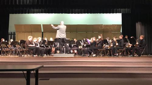Picture of 8th grade band students receiving a gold rating