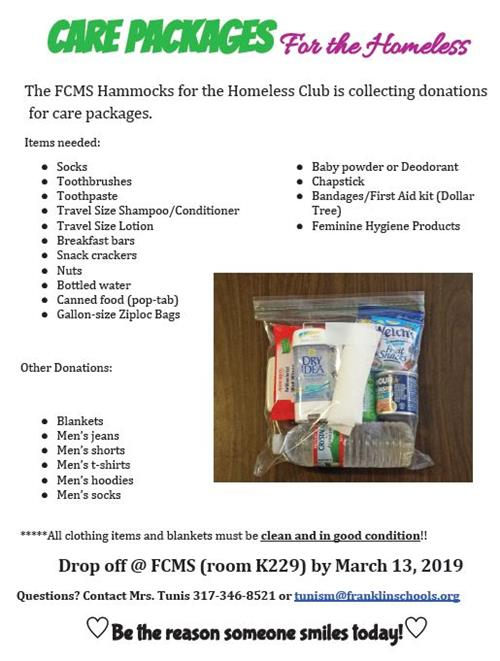 The FCMS Hammocks for the Homeless is accepting donations for care packages