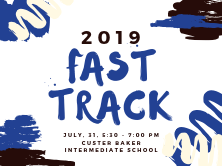 white background with black, blue and white paint squiggles. in the middle it says 2019 Fast track.