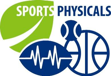 baseball, football and basketball graphics that say sports physicals above them.