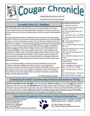September Creekside Cougar Chronicle Picture