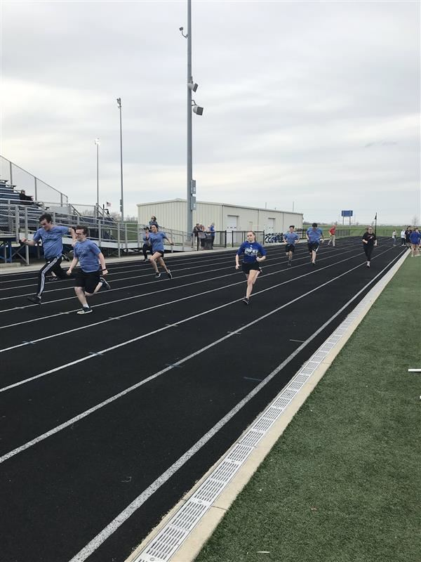 Runners compete in the 100 meter dash