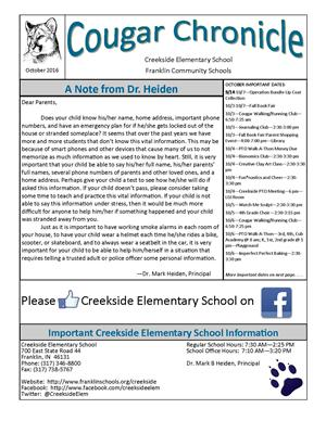 October Creekside Cougar Chronicle