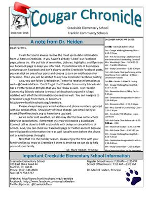 December Creekside Cougar Chronicle