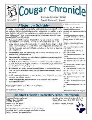 January Creekside Cougar Chronicle